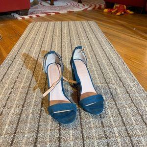 Shoes - Blue Ankle Strap Heels